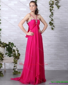 Affordable Hot Pink Dama Dress with Brush Train