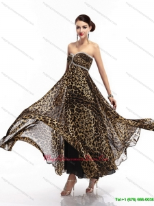 Affordable Sweetheart Leopard Floor Length Dama Dress for 2015