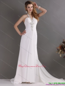 Beautiful 2015 Halter Top White Dama Dress with Ruching and Beading