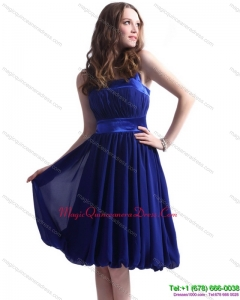 Discount Navy Blue Halter Top Dama Dresses with Sash and Ruffles