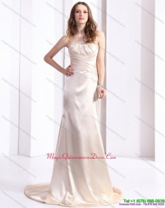Elegant 2015 Dama Dress with Brush Train and Ruching
