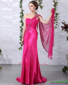 Elegant 2015 One Shoulder Fuchsia Dama Dress with Beading and Ruching