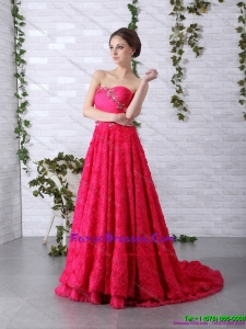 Exclusive Brush Train 2015 Dama Dress with Ruching and Beading