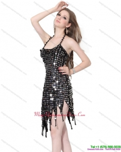 Popular Halter Top Black 2015 Dama Dress with Sequins