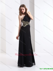 2015 Affordable One Shoulder Beading Dama Dress in Black