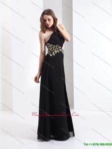 2015 Affordable One Shoulder Beading Dama Dress in Black