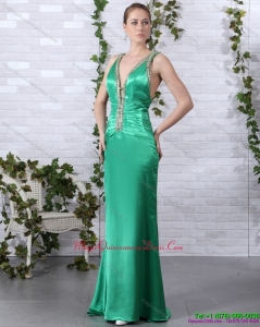 2015 Discount Beading Long Dama Dresses with Brush Train