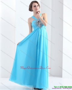 2015 Discount Halter Top Floor Length Dama Dress with Ruching and Beading