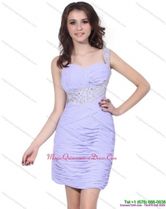 2015 Discount Lilac Mini Length Dama Dress with Rhinestones and Ruching