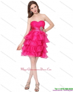 2015 Discount Sweetheart Dama Dresses with Ruffled Layers and Beading