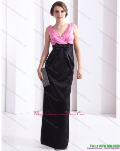 2015 Discount V Neck Long Dama Dress with Bowknot and Ruching
