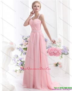 Affordable 2015 Baby Pink Dama Dress with Brush Train and Ruching