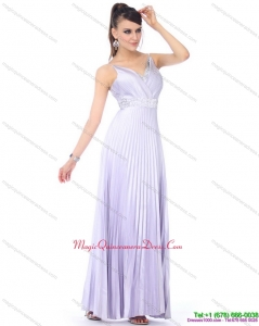 Affordable 2015 Empire Spaghetti Straps Dama Dress with Pleats and Beading