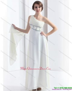 Affordable 2015 New Style One Shoulder White Dama Dress with Watteau Train and Beading