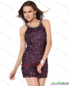 Affordable 2015 Pretty Bateau Mini Length Dama Dress with Sequins