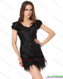 Affordable Black Mini Length Dama Dress with Sequins