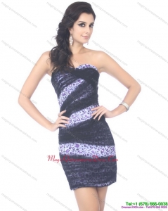 Affordable Mini Length Strapless Leopard Dama Dress for 2015
