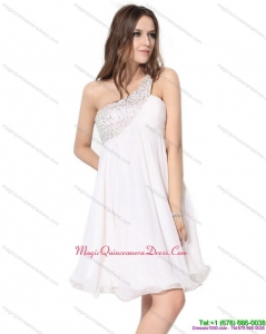 Affordable One Shoulder Beading Dama Dress in White