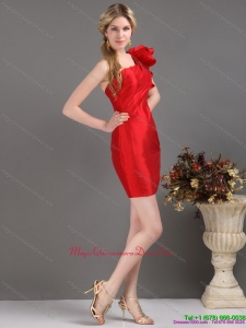 Affordable One Shoulder Mini Length Red Dama Dress with Ruching