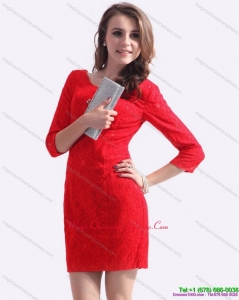 Affordable Red Mini Length 2015 Dama Dress with Lace