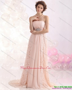 Affordable Strapless Sequins and Lace Dama Dress with Brush Train