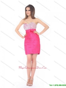 Affordable Sweetheart Beading and Ruching Dama Dress for 2015