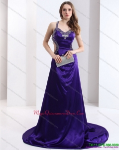 Discount 2015 Halter Top Purple Criss Cross Dama Dresses with Court Train