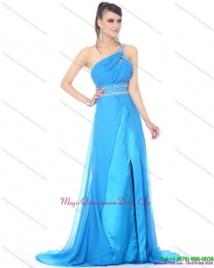 Discount 2015 One Shoulder Blue Long Dama Dress with Rhinestones