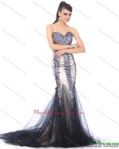 Discount 2015 Sweetheart Mermaid Dama Dress with Beading and Brush Train