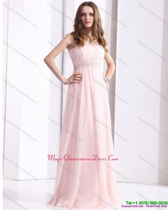 Discount Baby Pink Strapless Dama Dresses with Ruching and Beading