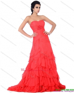 Discount Brush Train Dama Dresses with Ruffled Layers and Beading