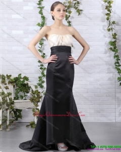 Discount Brush Train Ruching 2015 Dama Dresses in White and Black