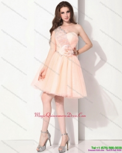 Discount Mini Length One Shoulder Dama Dresses with Hand Made Flower