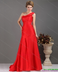 Discount One Shoulder Pleated Red Dama Dresses with Brush Train