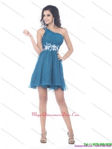 Discount One Shoulder Ruching Beading Dama Dresses for 2015