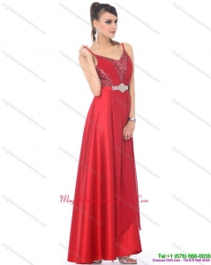 Discount Spaghetti Straps Floor Length Beading Dama Dresses for 2015