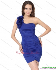 New Arrival One Shoulder Royal Blue Dama Dresses with Hand Made Flower