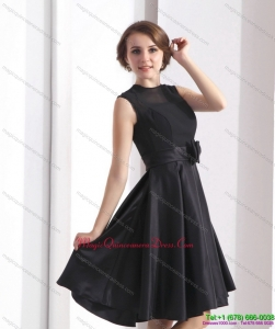 2015 Discount Black Knee Length Dama Dress with Bowknot
