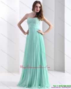 2015 Discount Brush Train Apple Green Dama Dress with Beading and Pleats