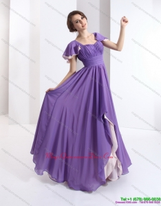 2015 Discount Dama Dress with Ruching and Cap Sleeves