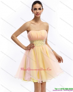 2015 Discount Strapless Multi Color Dama Dress with Beading and Ruching