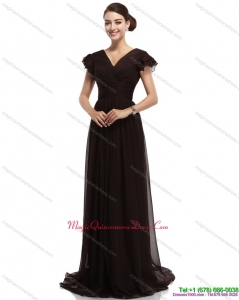 Discount Cap Sleeves and Brush Train 2015 Dama Dress in Black
