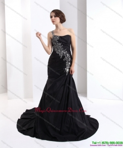 Discount One Shoulder Dama Dress with Brush Train