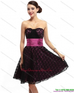 Discount Sweetheart Mini Length Dama Dress with Lace and Hand Made Flowers