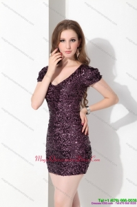 Discount V Neck Mini Length Dama Dress with Sequins