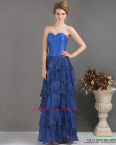 New Arrival 2015 Blue Sweetheart Dama Dresses with Ruffled Layers