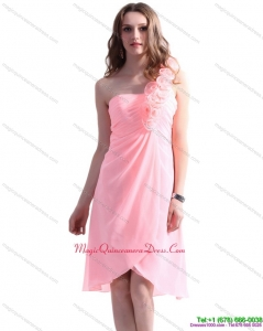 New Arrival Baby Pink One Shoulder Dama Dresses with Ruching and Hand Made Flowers