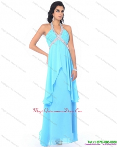 New Arrival Halter Top Long Dama Dresses with Beading and Ruffles