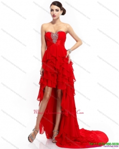 New Arrival High Low Ruffled Layers Beading Red Dama Dresses for 2015