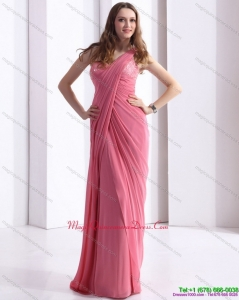 New Arrival One Shoulder Coral Red Dama Dresses with Appliques and Ruching
